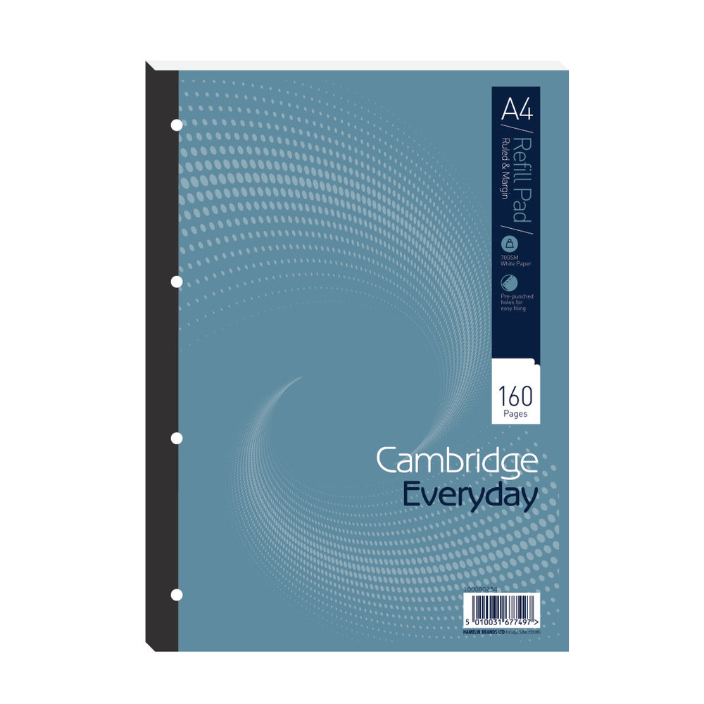 Cambridge Everyday Ruled Margin Refill Pad 160 Pages A4 (Pack of 5) 846200192