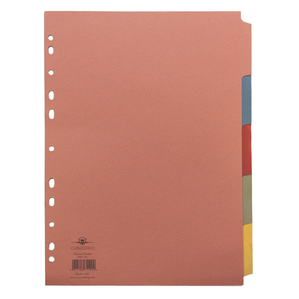Concord A4, Plain Tabs, Assorted Colours 5 Part Index Dividers - 71199/J11