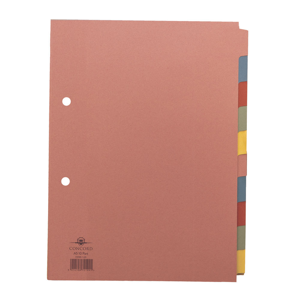 Concord A5 10 Part Divider, Assorted, Plain Tab - 72199