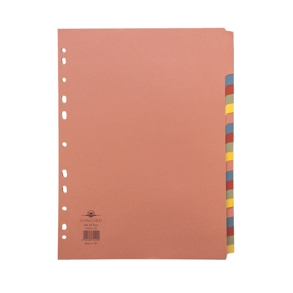 Concord A4 20-Part Multicoloured Dividers - 74499/J44