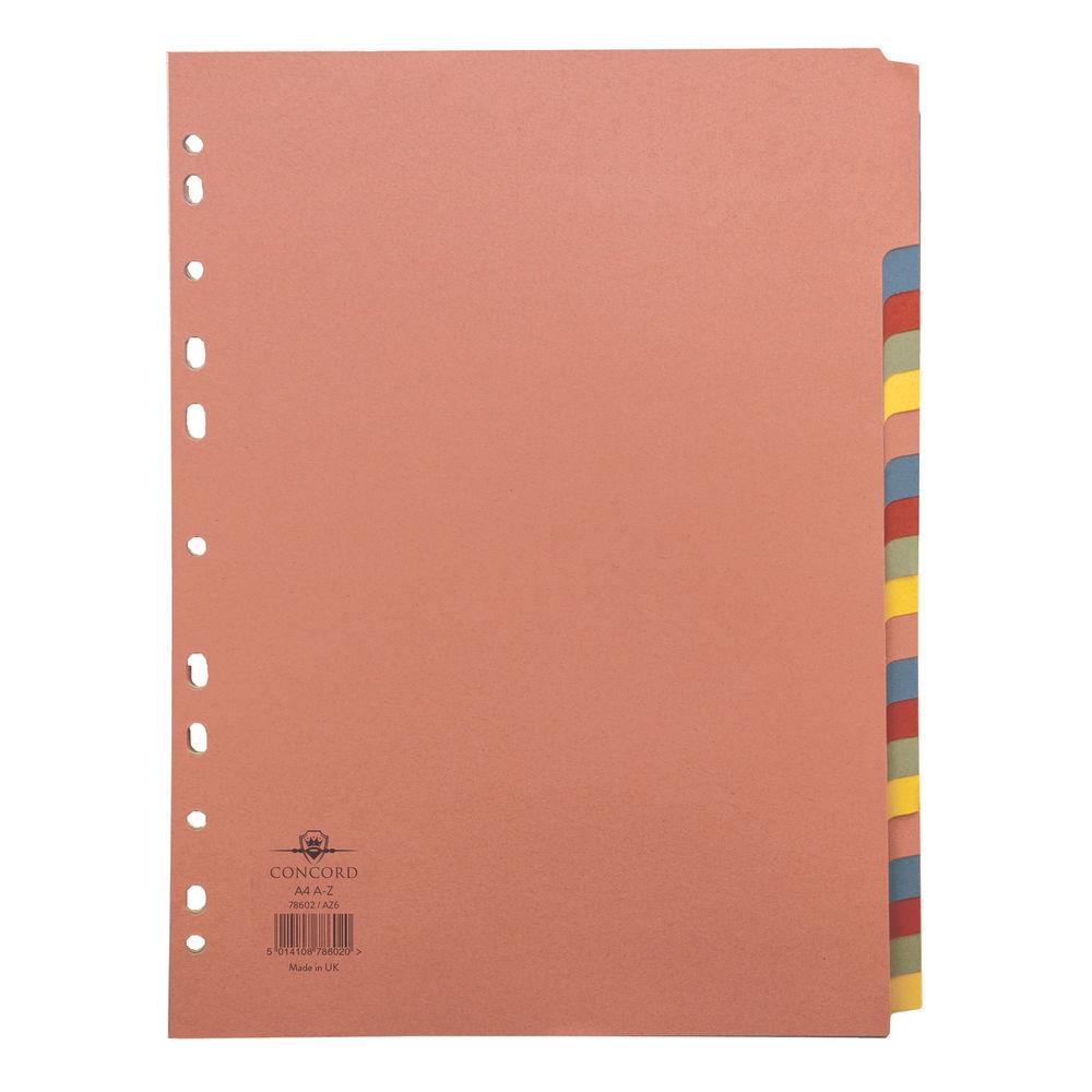 Concord A4 20 Part Multi-Coloured A-Z Tabs Index Divider - 78602/AZ6