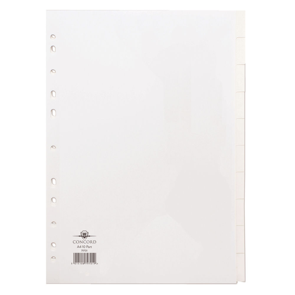 Concord Divider 10-Part A4 150gsm White 79701/97