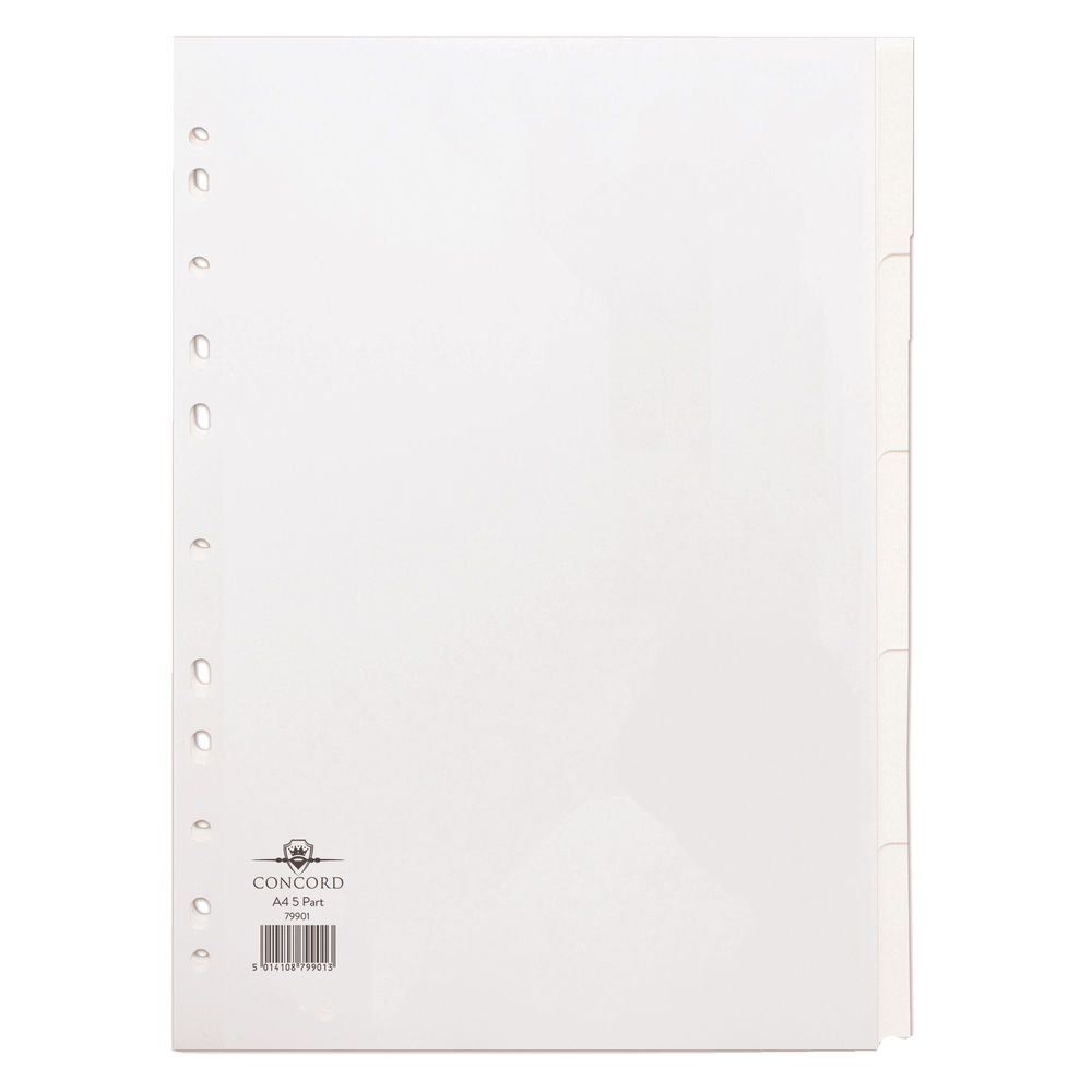 Concord A4 Plain Tab, White 5 Part Index Dividers,- 79901/99