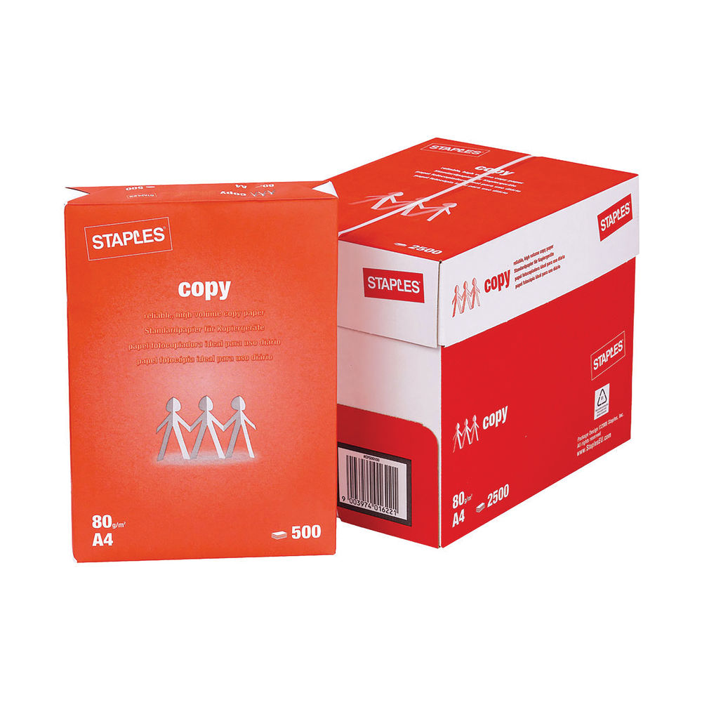Staples A4 White Copy Paper 80gsm, Box of 5 Reams – 3414656