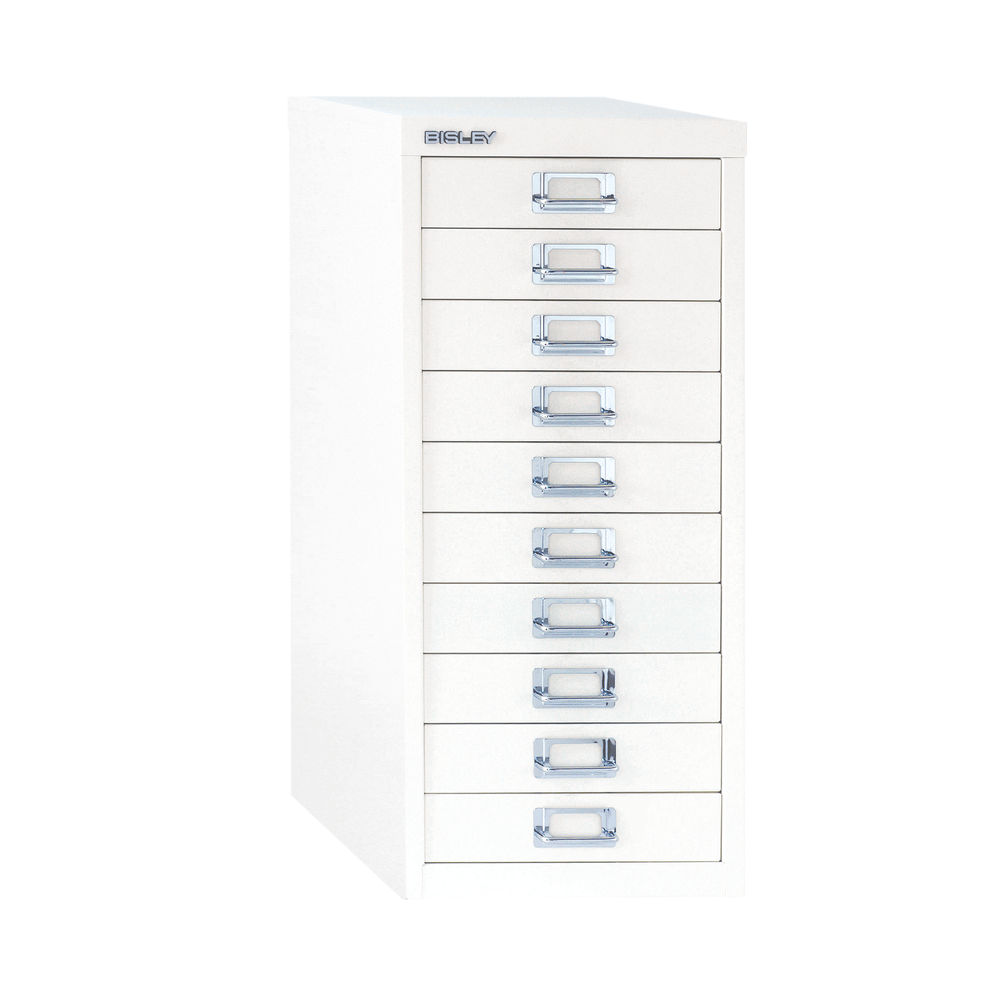 Bisley 860mm A4 Chalk White 10 Drawer Filing Cabinet - BY19660