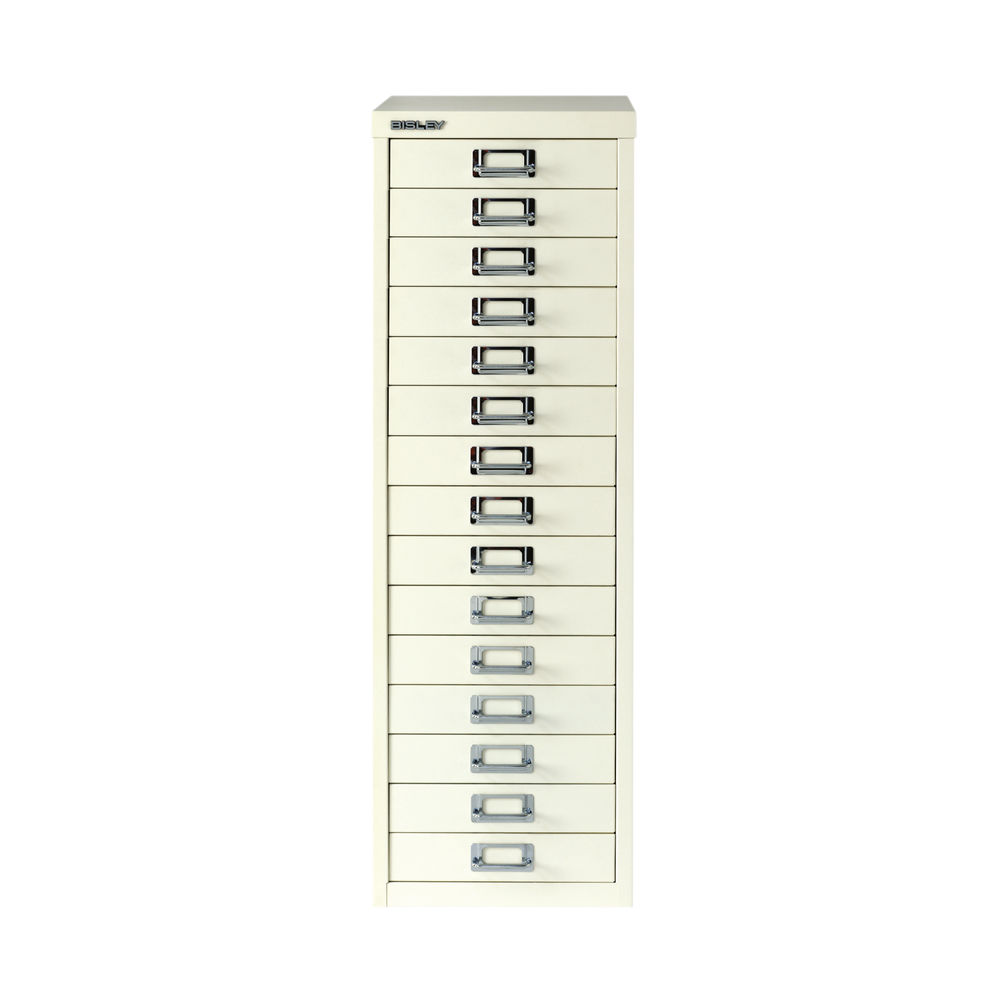 Bisley 860mm A4 Chalk White 15 Drawer Filing Cabinet - BY15308