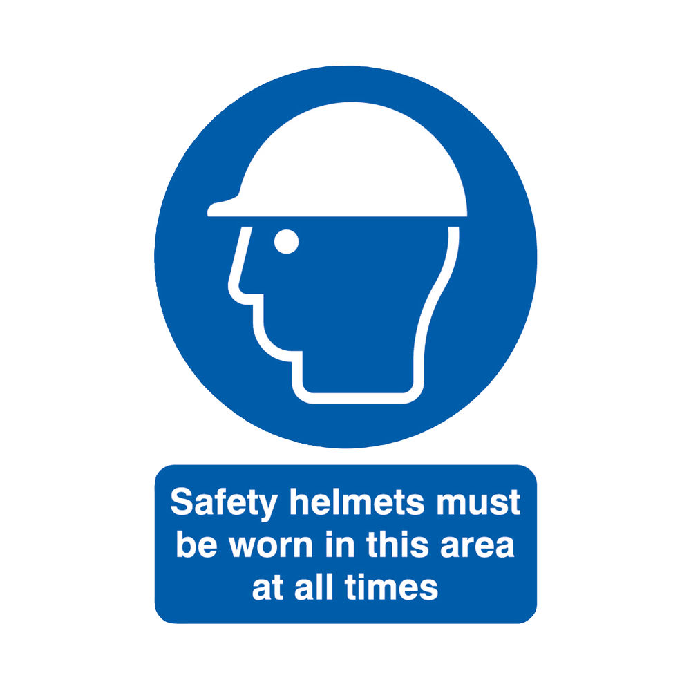 Safety Helmets Must Be Worn A4 PVC Safety Sign - MA04650R