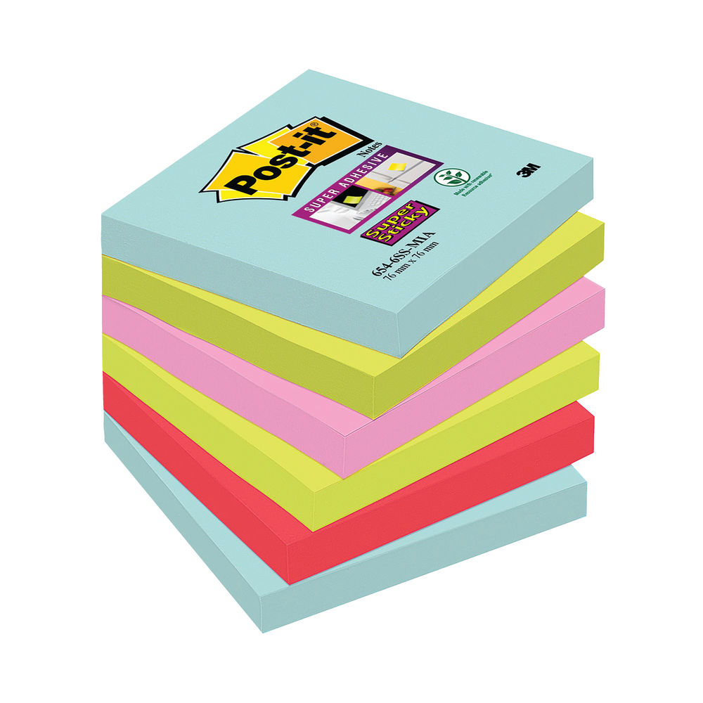 Post-it 76 x 76mm Miami Super Sticky Notes, Pack of 6 | 654-6SS-MIA