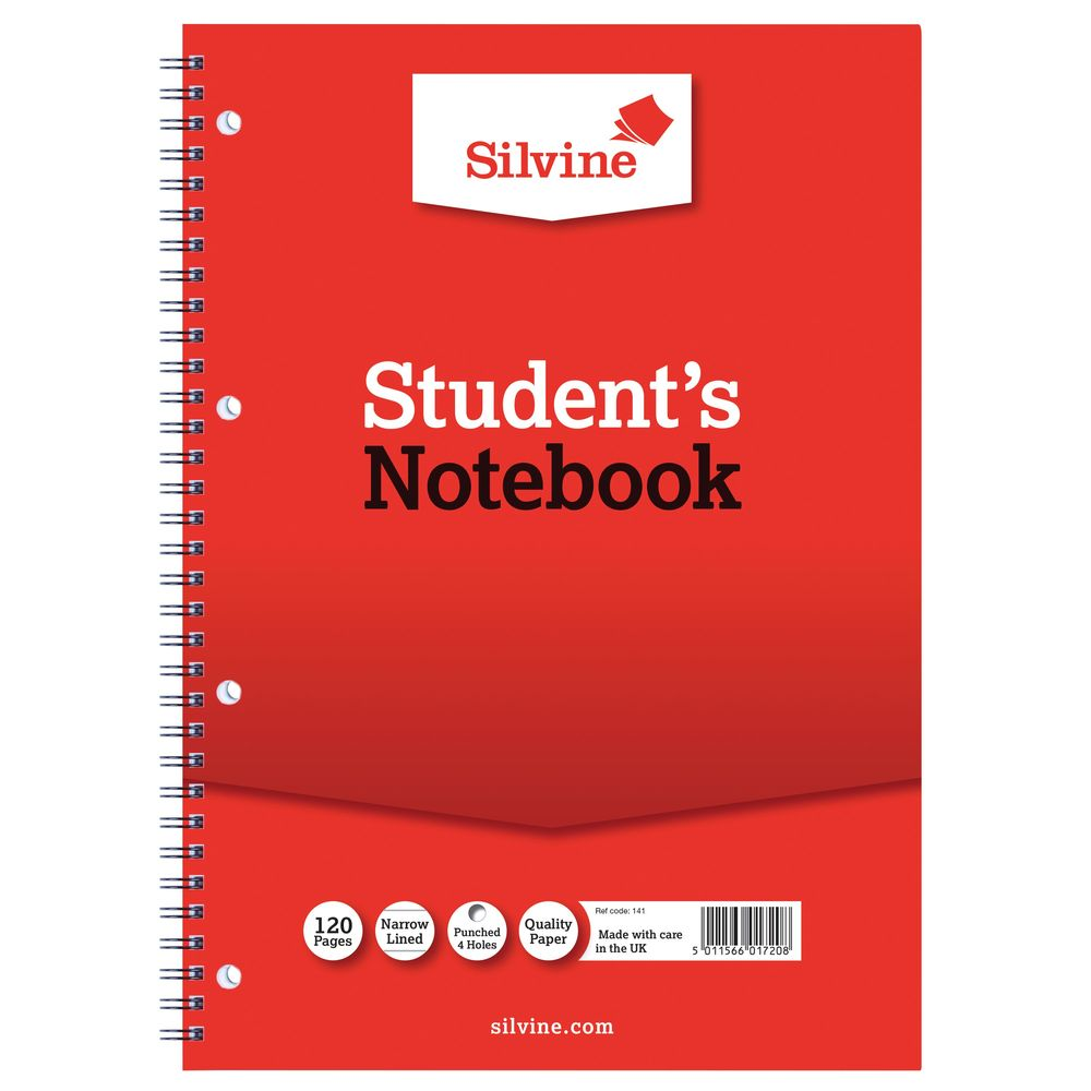 Silvine Spiral Bound A4 Students Notebooks - Pack of 12 - 141