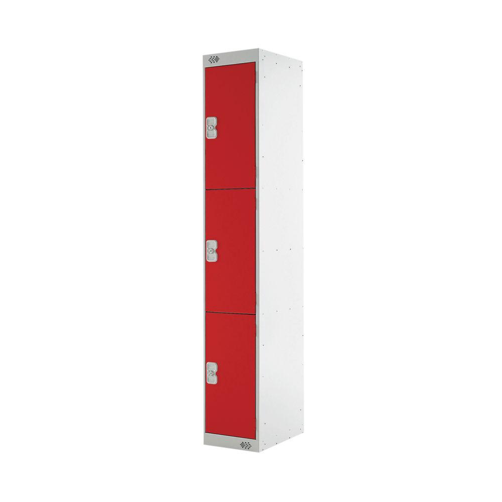 Three Compartment D450mm Red Express Standard Locker - MC00159