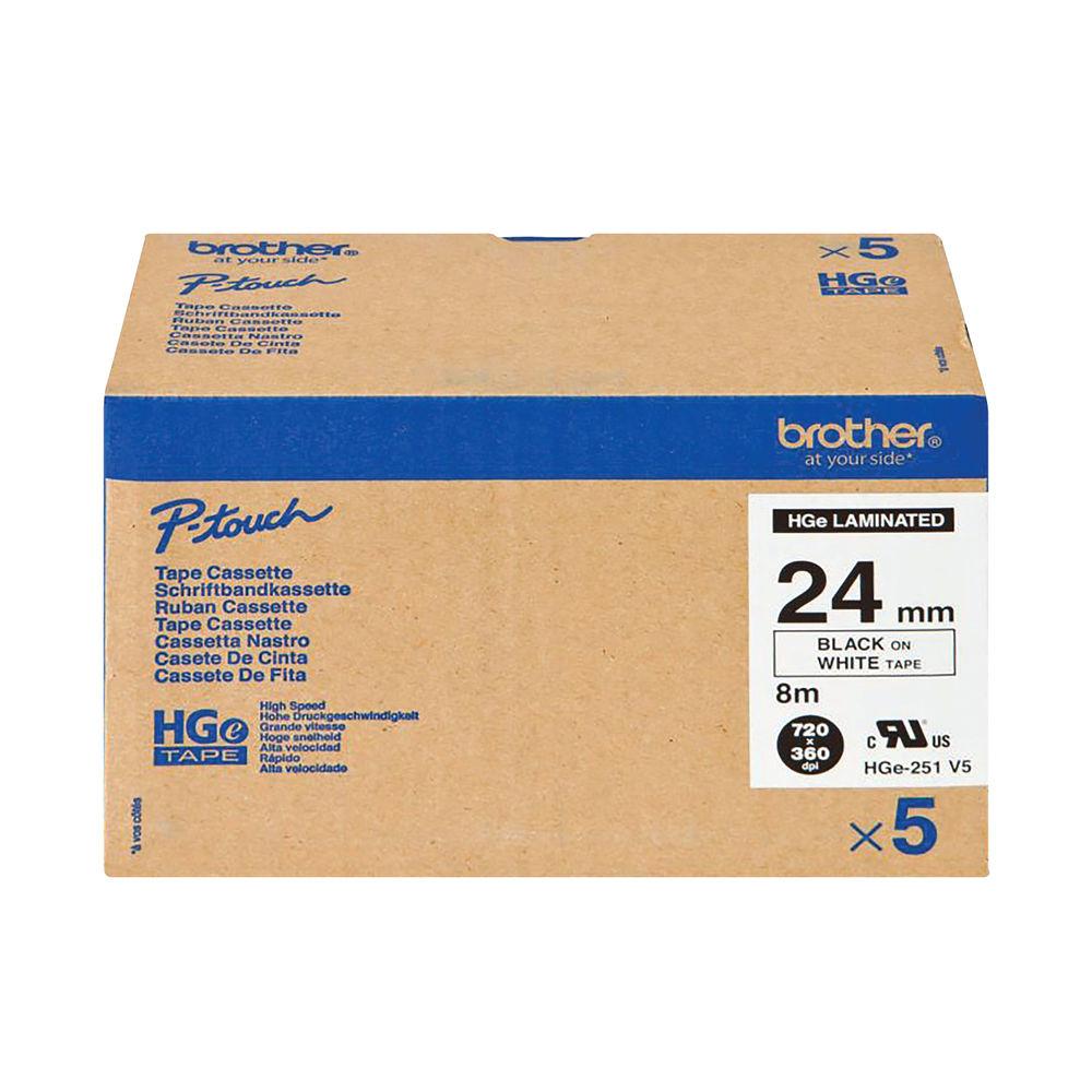 Brother HGE Labelling Tape 24mm x 8m Black on White HGE251V5