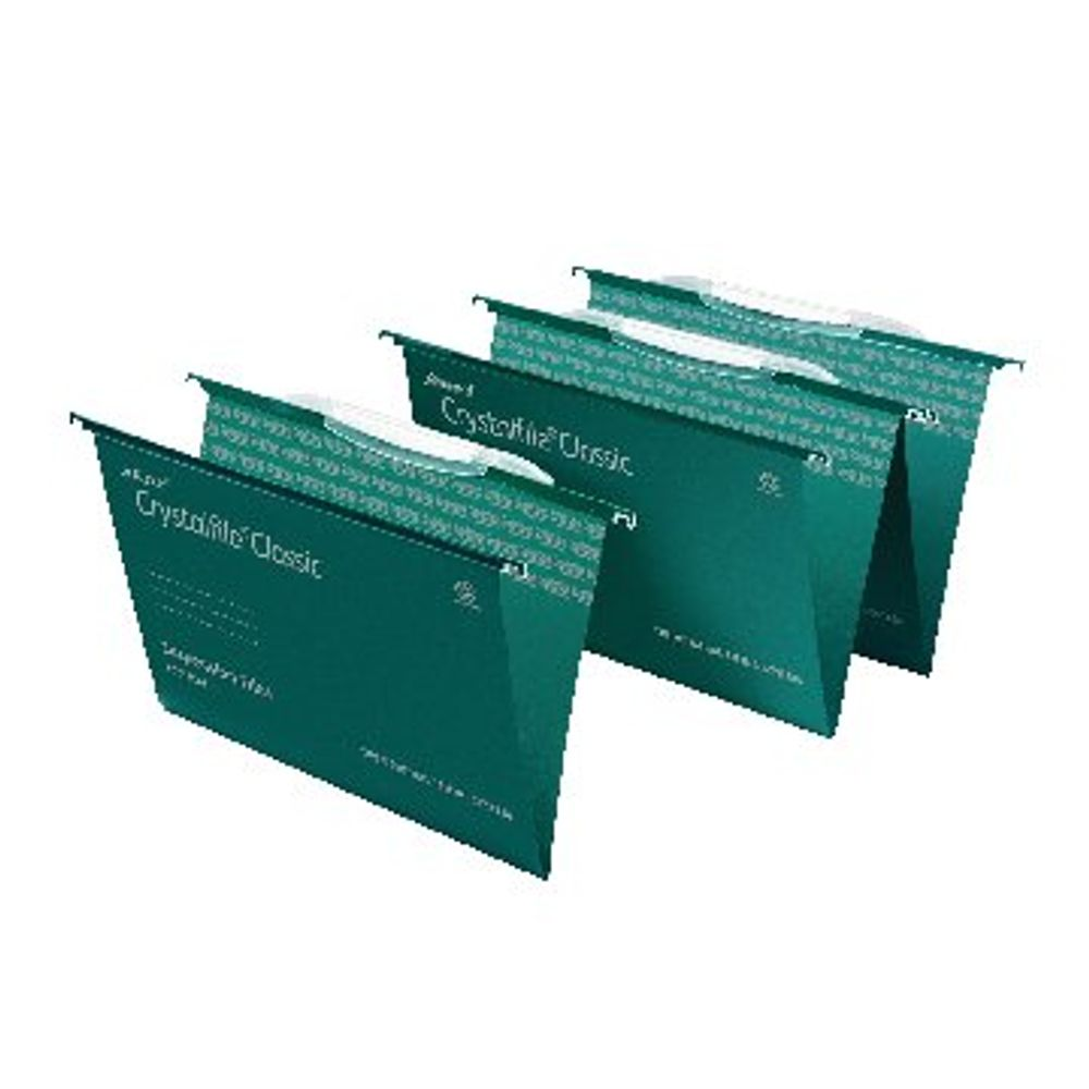 Rexel Crystalfile Classic Foolscap 15mm Green Suspension Files, Pack of 50 - 78046