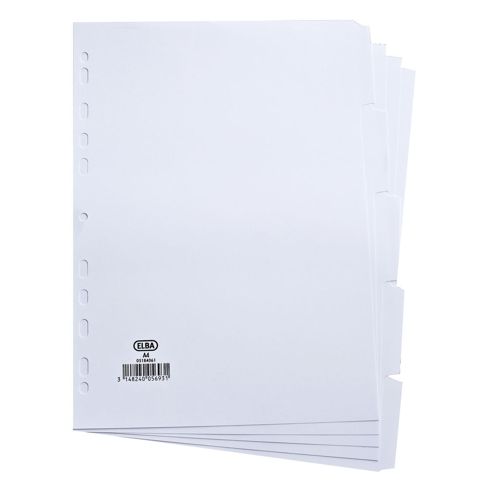 Elba 5-Part Divider 160gsm Manilla Multipunched A4 White 100204880