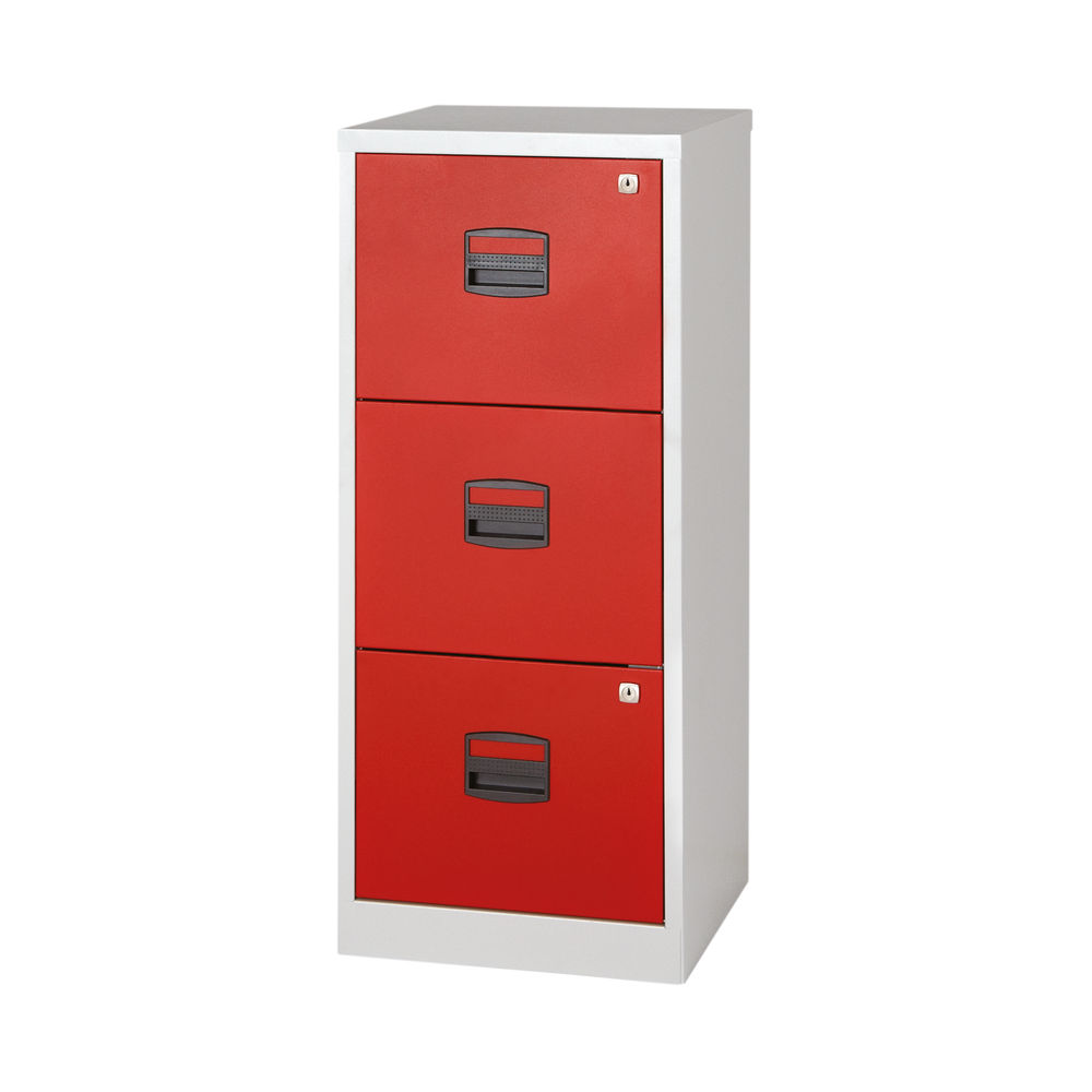Bisley 1015mm Grey/Red Home 3 Drawer Filing Cabinet - BY78728