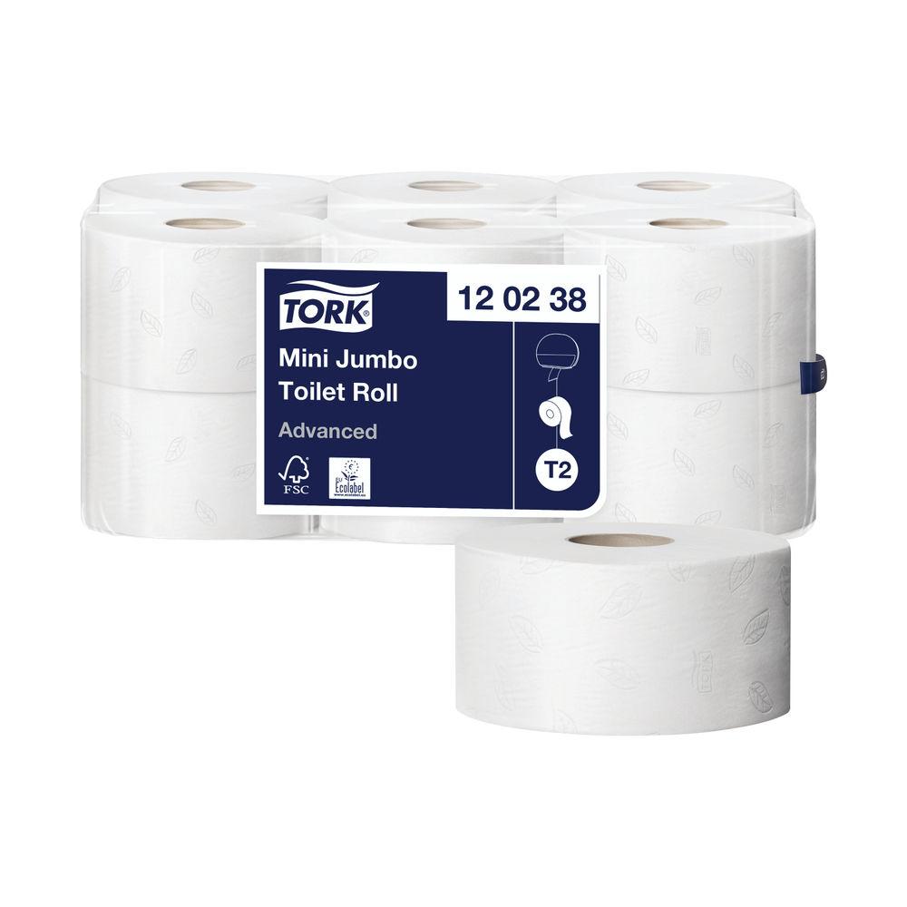 Tork T2 Mini Jumbo Toilet Roll 2-Ply (Pack of 12) 120238