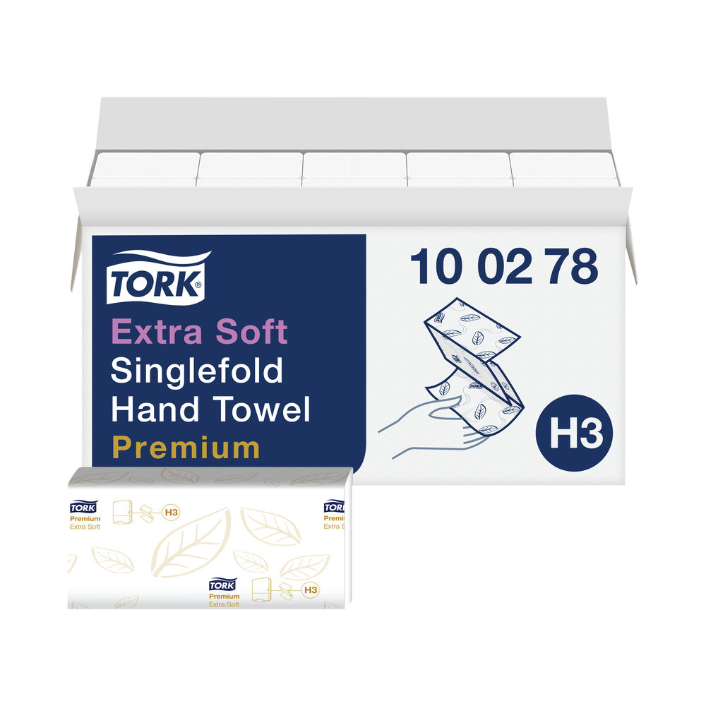 Tork H3 White 2-Ply Single Fold Hand Towels (Pack of 15) - 100278
