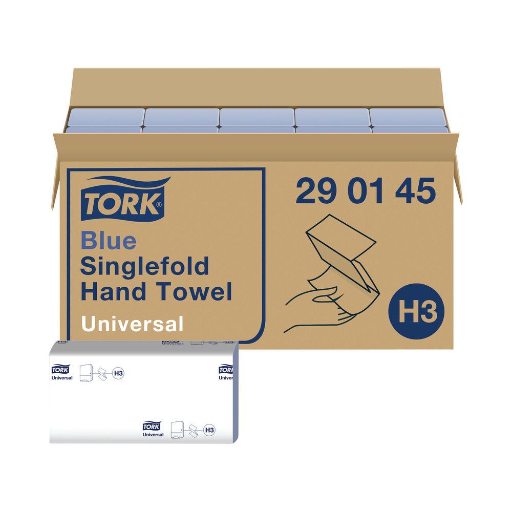 Tork H3 Blue 1-Ply Singlefold Hand Towels, Pack of 20 - 290145