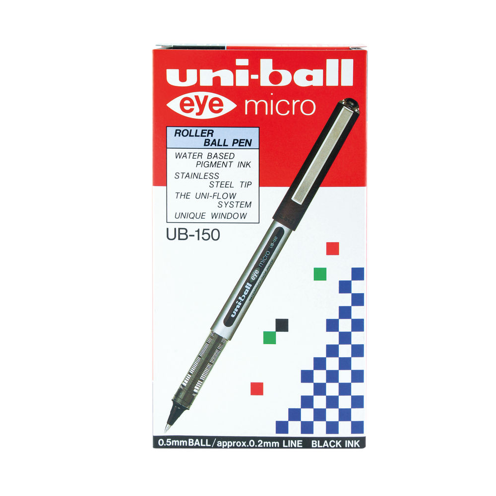 uni-ball Eye Micro Rollerball Black Pens, Pack of 12 - 162545000