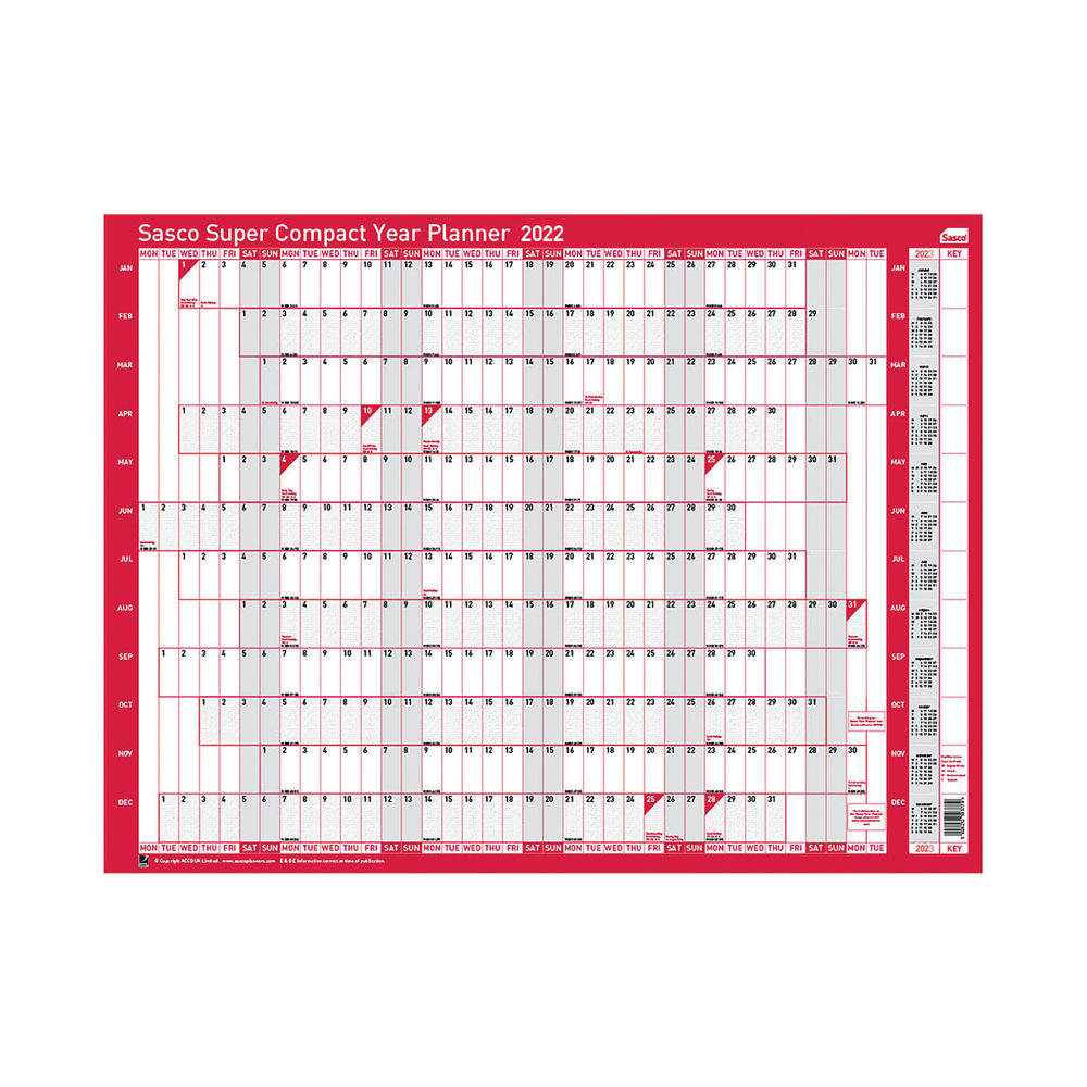 Sasco Super Compact Year Planner 2022 2410155