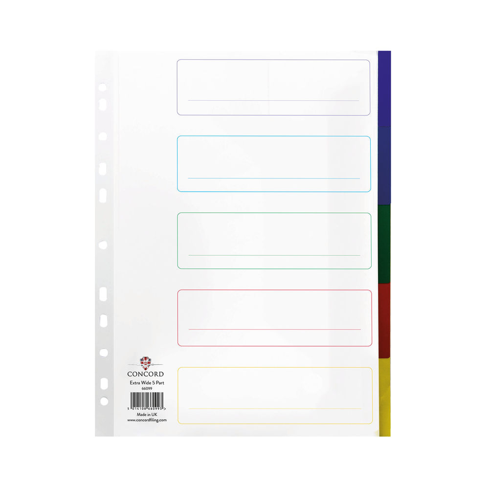 Concord A4+ Extra Wide 5 Part, Plain Mylar Tabs Index Dividers - 66099