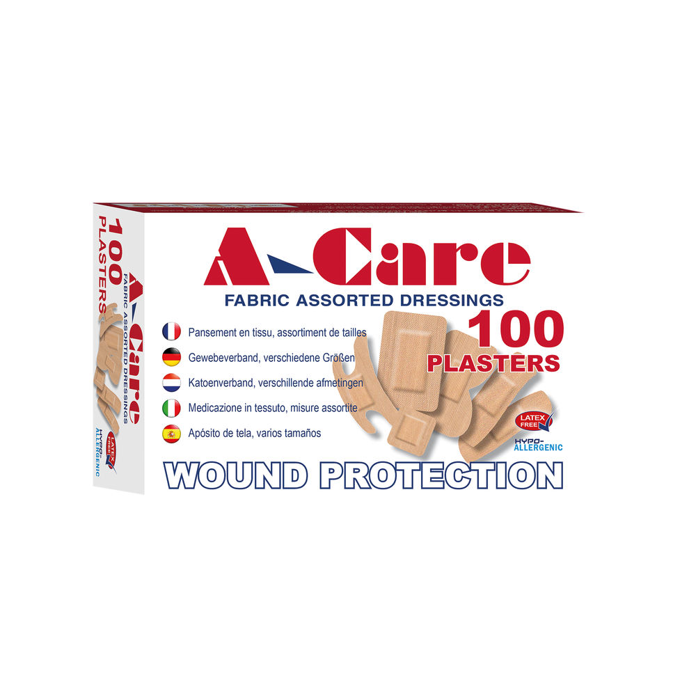 A-Care Latex Free Fabric Assorted Plasters 6 Sizes (Pack of 100)