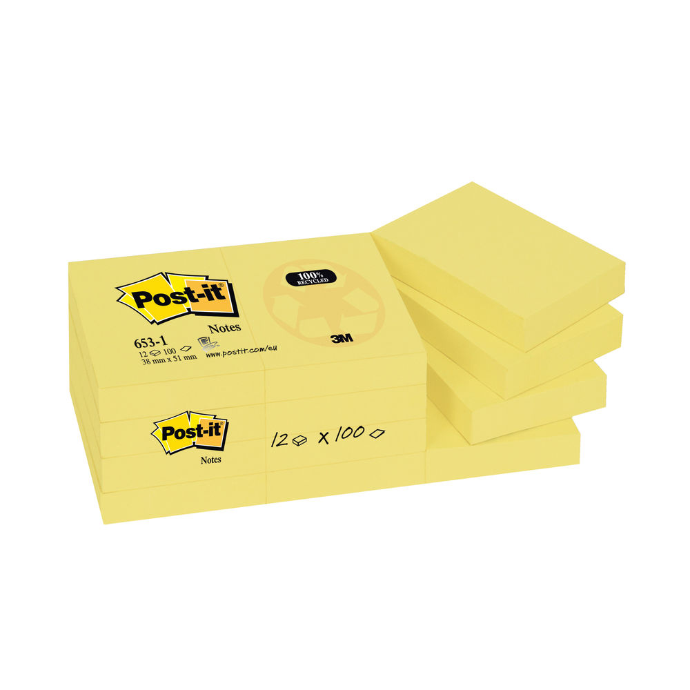 Post-it 38 x 51mm Canary Yellow Recycled Notes, Pack of 12 | 653-1