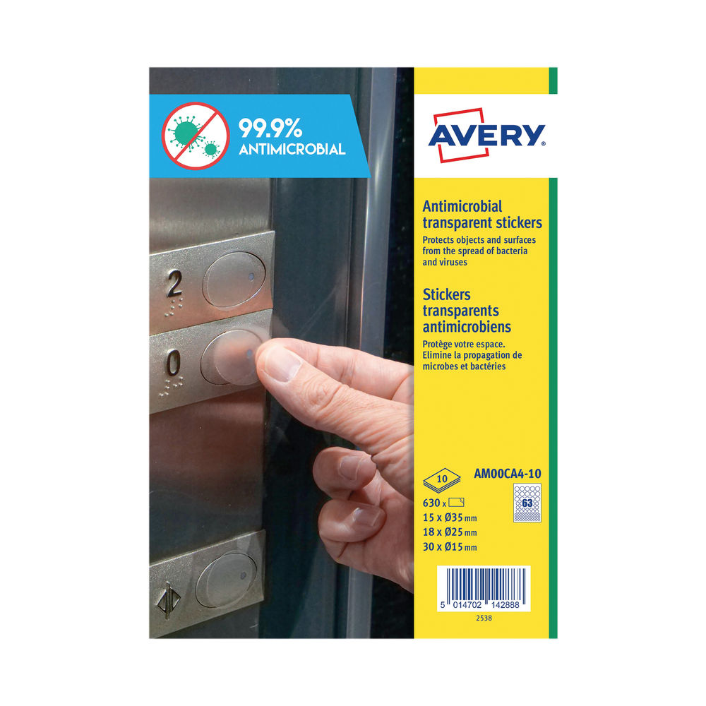 Avery Permanent Assorted Circular Antimicrobial Film Labels (Pack of 630) AM00CA4