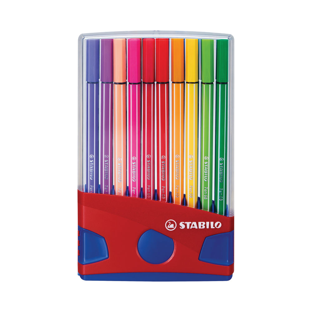 Stabilo Pen 68 Felt Tip Pen 1mm Odourless Water-based Ink Assorted (Pack of 20) 6820-03
