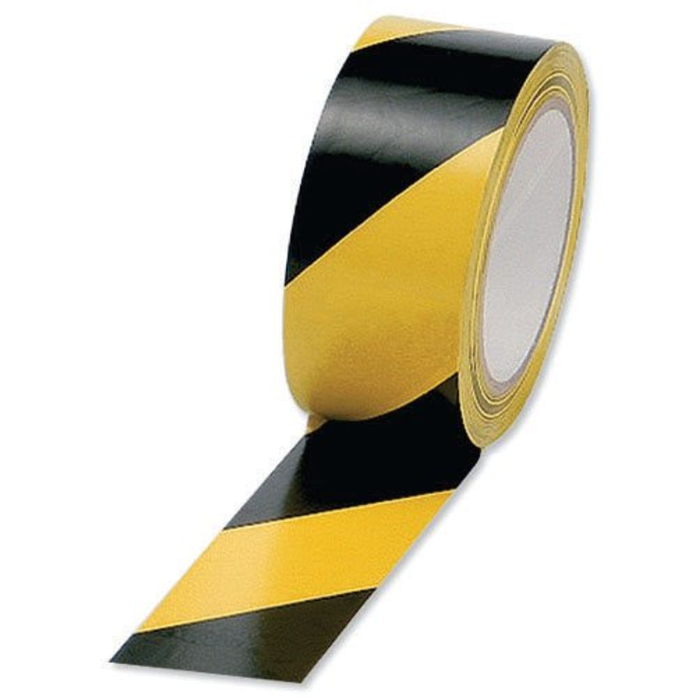 50mm x 33m Yellow/Black Vinyl Hazard Tapes, Pack of 6 - PVC-50-33-HAZYB