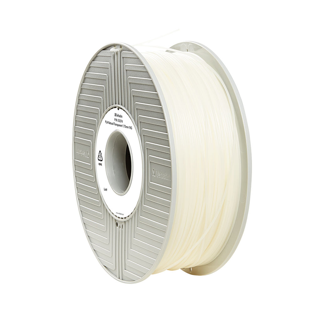 Verbatim Clear 1.75mm PLA 3D Printing Filament, 1kg Reel - 55317