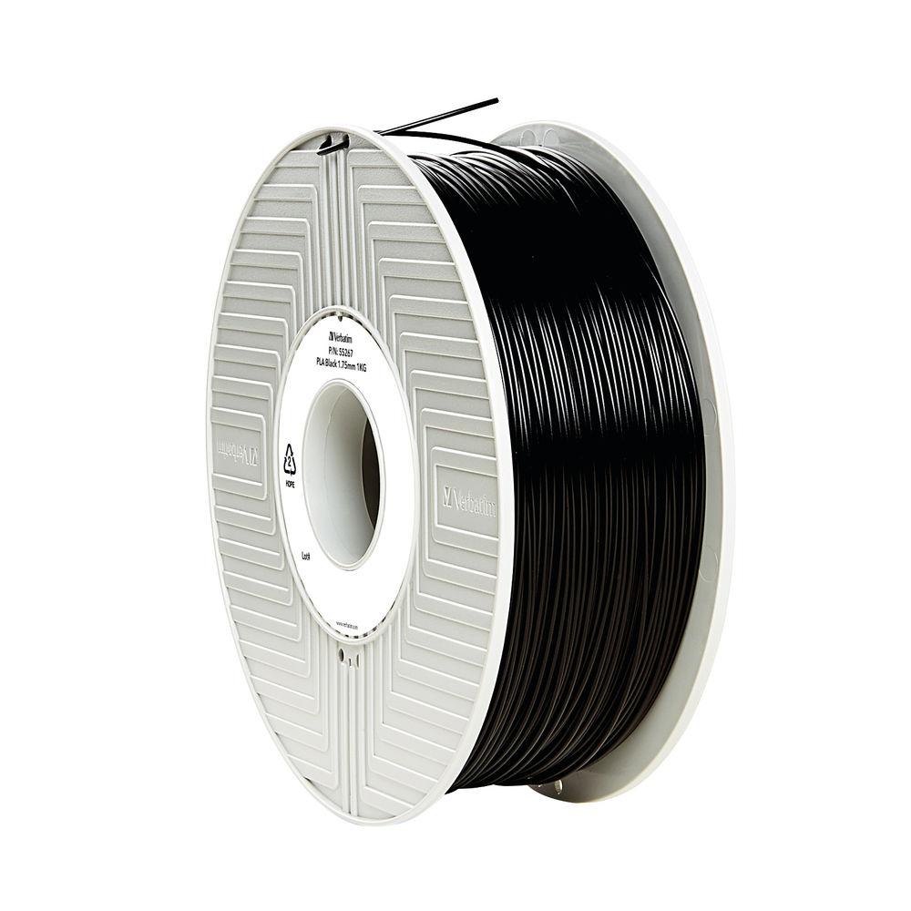 Verbatim Black 1.75mm PLA 3D Printing Filament, 1kg Reel - 55318