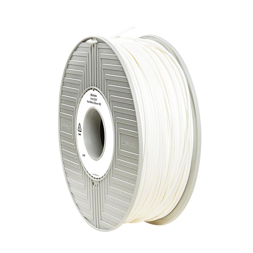 Verbatim White 2.85mm PLA 3D Printing Filament, 1kg Reel - 55328