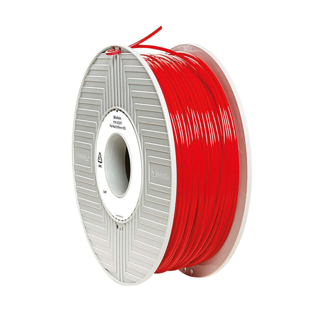 Verbatim Red 2.85mm PLA 3D Printing Filament, 1kg Reel - 55330