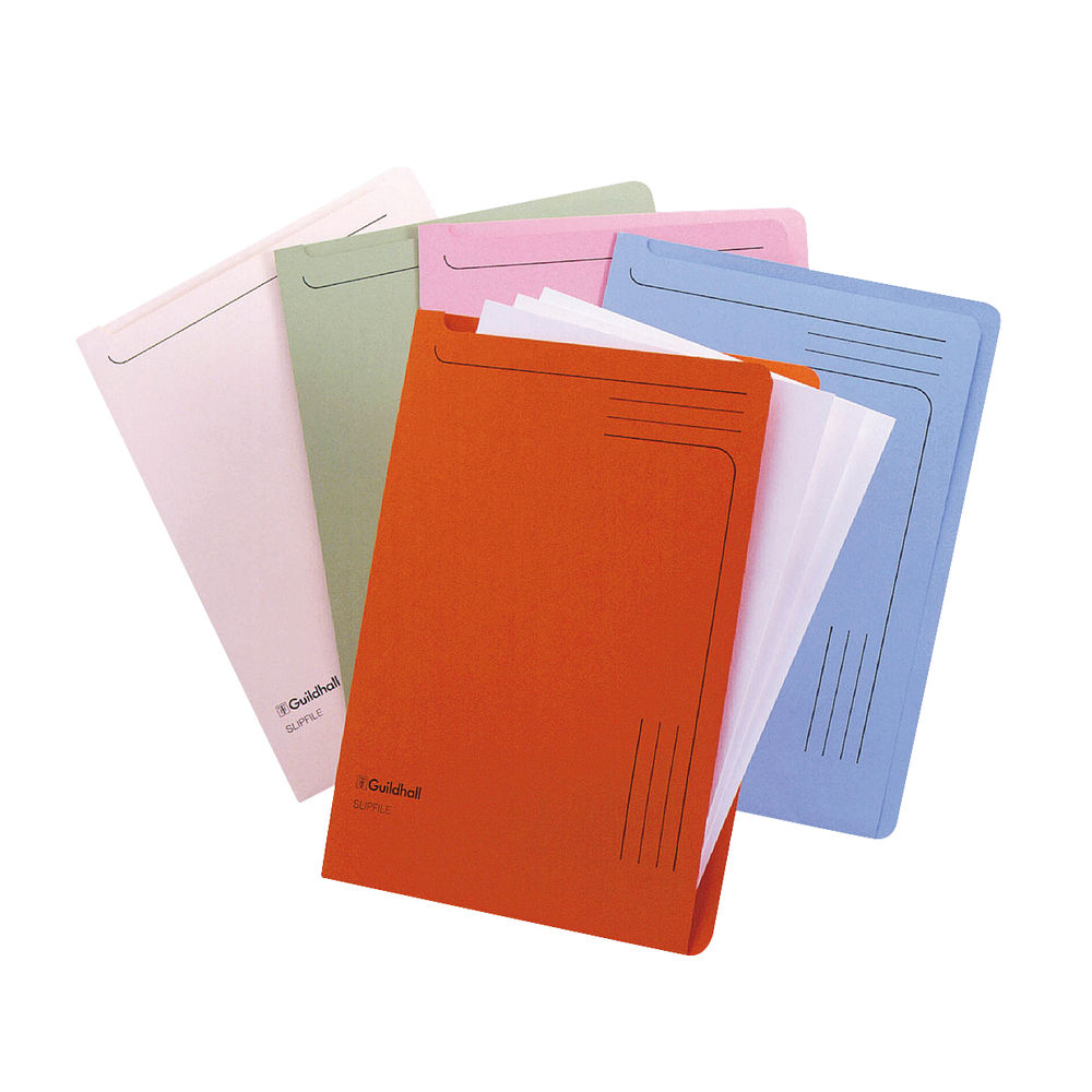 Guildhall Assorted Foolscap Slip Files 230gsm, - Pack of 50 - 14600