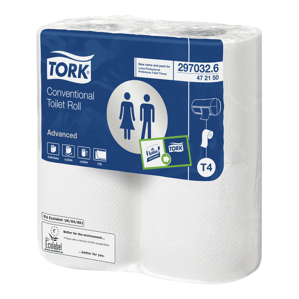 Tork 2-Ply Conventional Toilet Rolls, Pack of 36 - 100320