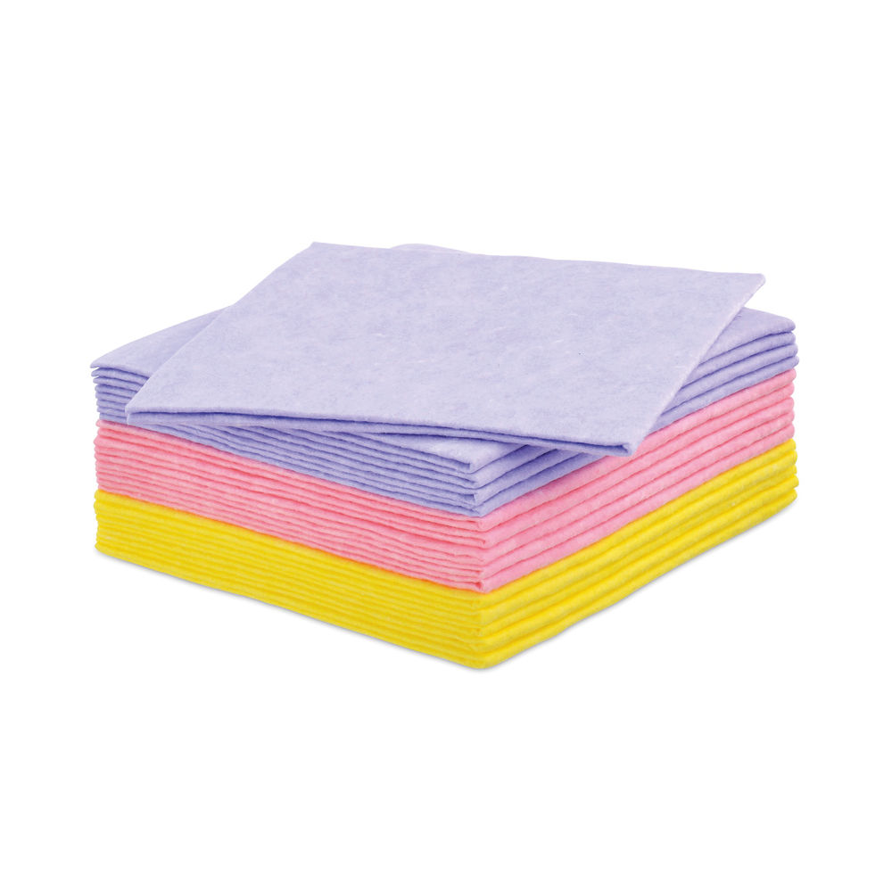 Staples All Purpose Cleaning Cloth 38x38cm 100gsm Washable Non Woven Assorted (Pack of 15) 8852264