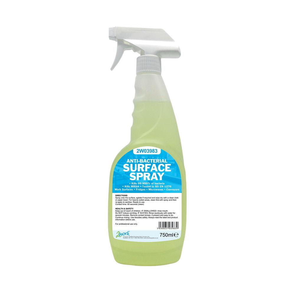 2Work Antibacterial Surface Spray 750ml (Pack of 6) 2W04586