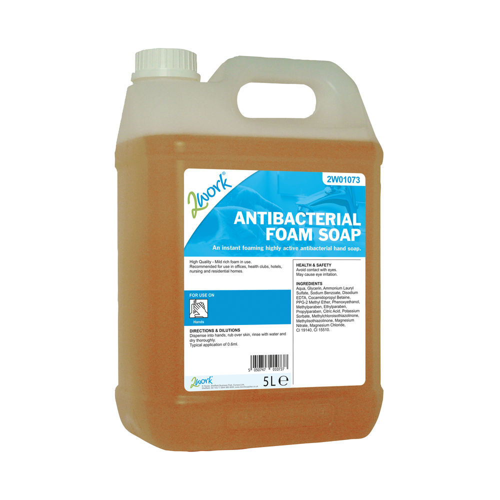 2Work Antibacterial Foam Soap 5 Litre Bulk Bottle 2W01073