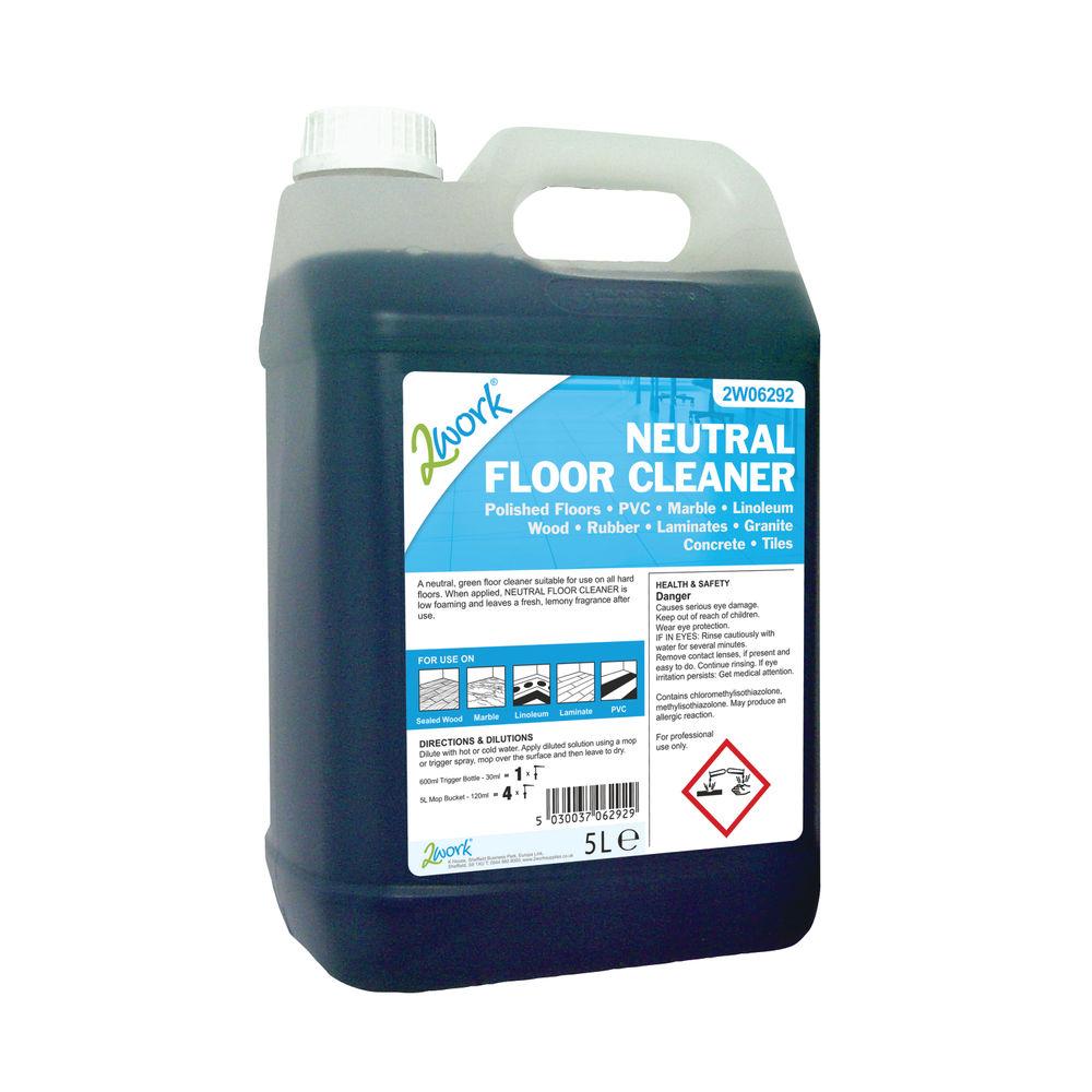 2Work Neutral Floor Cleaner Lemon Fragrance 5 Litre Bulk Bottle 2W06292