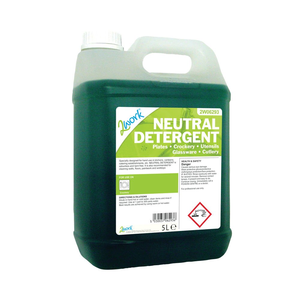 2Work Dishwashing Neutral Detergent 5 Litre 2W06293