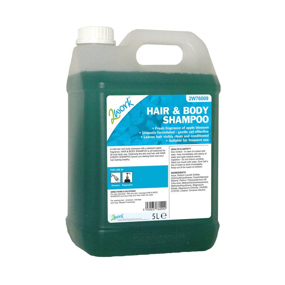 2Work Hair and Body Wash Apple Fragrance 5 Litre Bulk Bottle 2W76009