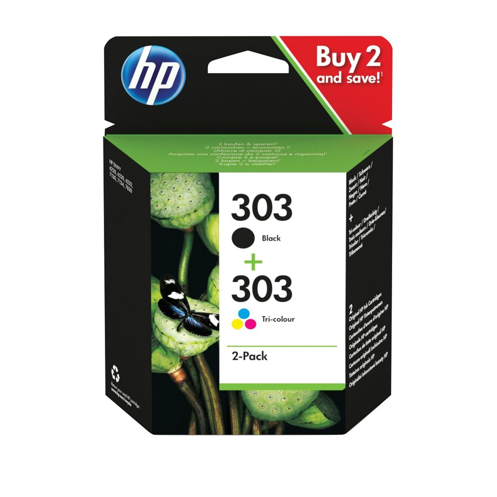 HP 303 2 Pack Tri-colour Black Ink Cartridge 3YM92AE