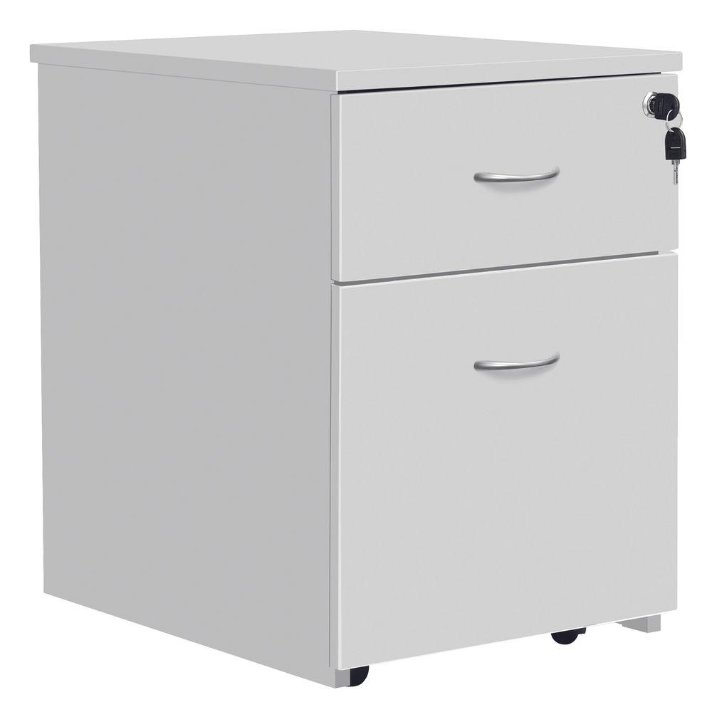 Serrion Eco 18 White 2 Drawer Mobile Pedestal