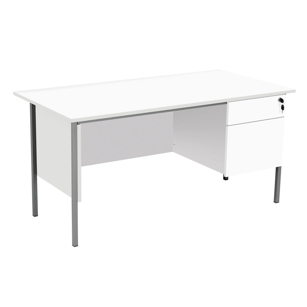 Serrion 1500mm White 2 Drawer 4 Leg Rectangular Desk