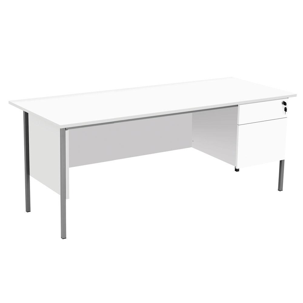 Serrion 1800mm White 2 Drawer 4 Leg Rectangular Desk