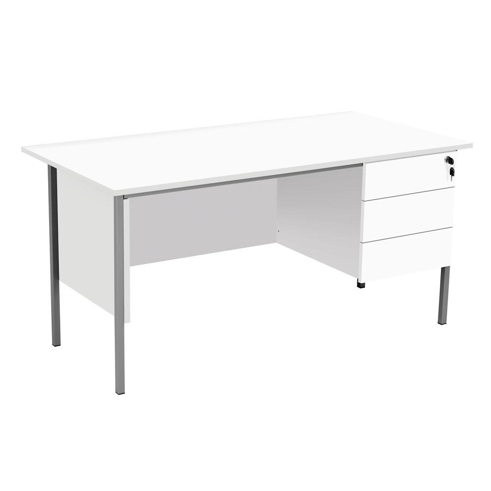 Serrion 1500mm White 3 Drawer 4 Leg Rectangular Desk