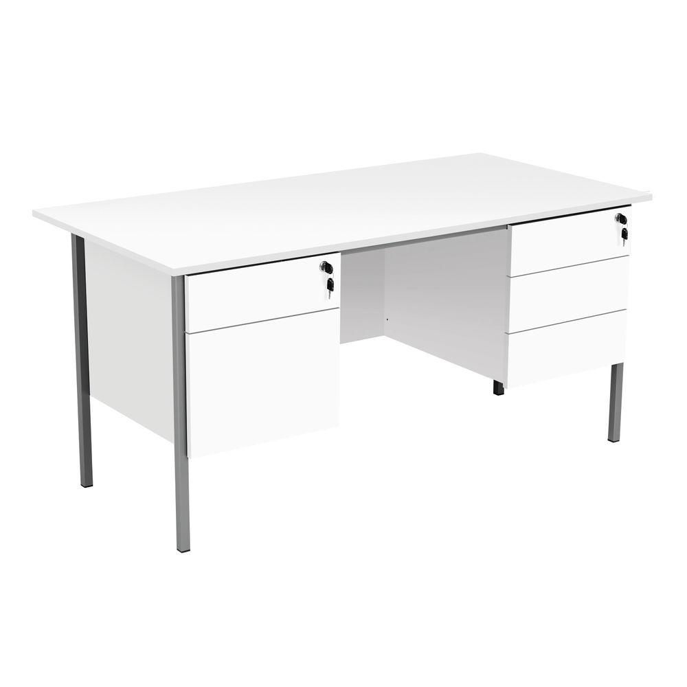 Serrion 1500mm White Double Pedestal 4 Leg Rectangular Desk