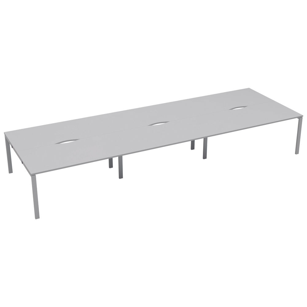 Jemini 1200mm White/White Six Person Bench Desk