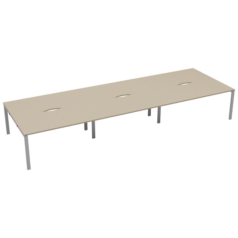Jemini 1200mm Maple/White Six Person Bench Desk