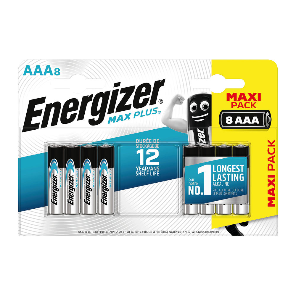 Energizer Max Plus AAA Batteries, Pack of 8 - E301322500